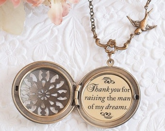 Thank you for raising the man of my dreams Quote Necklace Bronze Filigree Locket Mother of the Groom Gift Mother In Law Gift Wedding Jewelry