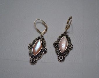 Sterling Silver EARRINGS Opalvescant Pink stone Pierced pair of Earrings  ships in 24 Hrs