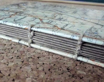Small recycled map notebook
