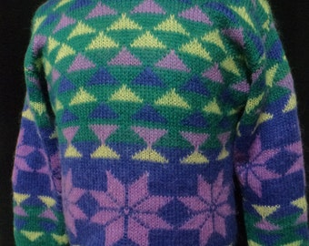 Vintage Mohair Pull-over Sweater (Size: Women's Small/Medium?) Mohair Geometric, Green, Lavender, Yellow, Blue, Ski Sweater, Snowflake,