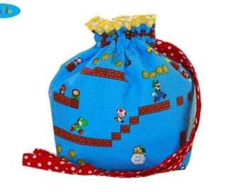NEW Knitting Bag | Project Bag | Drawstring Pouch | Sock Bag | Sock Knitting Project Bag | Nintendo Bag