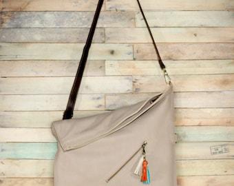 Crossbody bag, Messenger bag, Shoulder Bag, Gray crossbody leather bag, Crossbody Purse, Foldover Bag, Leather Bag, Soft Leather