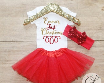 Personalized Christmas Tutu Outfit / Baby Girl Clothes Baby's 1st Christmas Outfit First Xmas Outfit Holidays Outfit Baby Tutu Bow Set 131