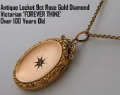 Antique Locket Necklace Diamond Rose Gold Oval Wedding Gift for Bride from Groom Anniversary Gift for Her