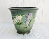 Roseville Pottery Green Freesia Flower Pot 670-5, Art Pottery, Antique Roseville Green Flower Pot or Planter 1940's