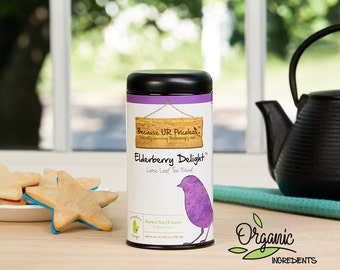 Organic Loose Leaf Tea, ELDERBERRY DELIGH herbal tea blend, organic elderberries and orange help with natural cold relief