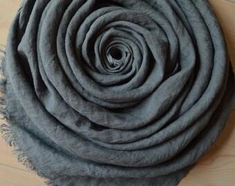 Slate LINEN Scarf, Bluish Gray Scarf, Slate Scarf, Summer Scarf, Men scarf, Women Scarf