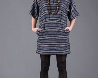 Navy Striped Tunic Dress with pockets