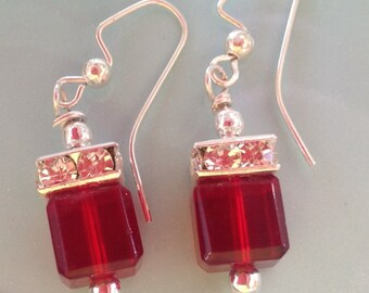 Red Swarovski Earrings, Crystal earrings, bridal earrings, wedding jewelry, handcrafted jewelry , trendy