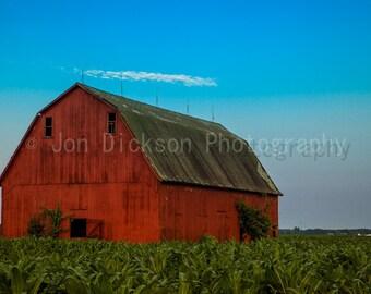 Red Barn - Fine Art Photography - Illinois Sunrise