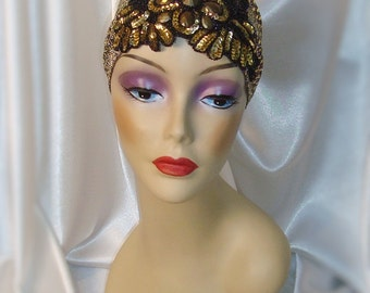 Gold and Black Bead and Sequin 1920s Juliet Cap, Roaring 20s Headpiece, Downton Abbey and Great Gatsby Inspired Headpiece
