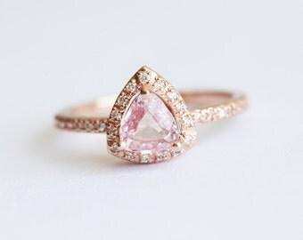 Peach Sapphire Ring, Peach Sapphire Engagement Ring, Pink Sapphire Ring,  Halo Diamond Ring, Rose Gold Engagement Ring, Rose Gold Sapphire