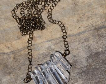 Antique Brass Wirewrapped Quartz Crystal Point Necklace / Clear Quartz / Wire Wrapped Polished Crystal Points / Minimalist Jewelry