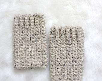 SALE Crochet Ankle Warmers - Oatmeal