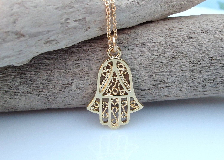 Gold Hamsa necklace Hamsa Hand of Fatima Hamsa Charm necklace