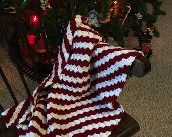 Christmas Candy Cane Striped Baby Blanket