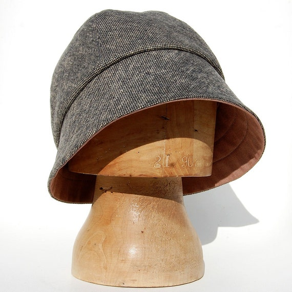 womens tweed hat grey cotton designer hat zutbrigitte by