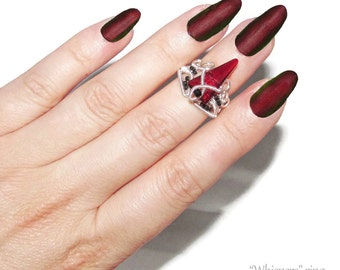 Whispers ring, elven ring, midi ring, knuckle ring, gothic ring, wire wrapped, adjustable ring, swarovski ring, cosplay, LARP, black jewelry