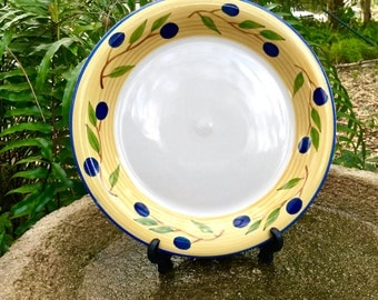 """Set of 2 (two) vintage Italian hand made and painted 10 3/8"""" Dinner Plates marked """"Decorato a Mano"""""""