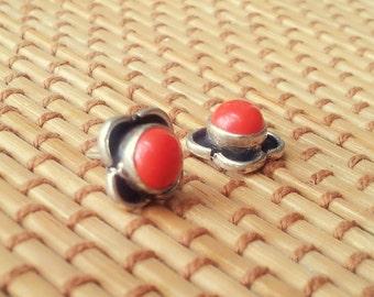 Coral Stud Earring Silver Stud Earring Stone Stud Gemstone Stud 8 mm Minimal Stud Earring Gift