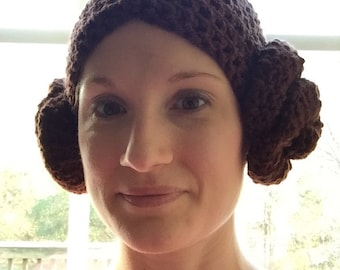 Crochet Princess Leia Hat for Women and Teens - Adult Hat