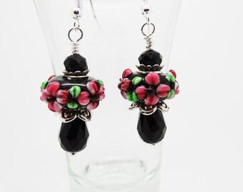 Black Drop Earrings, Black Earrings, Black Crystal Earrings, Crystal Earrings, Drop Earrings, Black Dangle Earrings, Lampwork Earrings