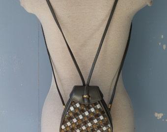 Vintage 90s Backpack/MINI Backpack/Small Backpack/Mini Purse Backpack/Basket Weave/Metallic/Street Style/