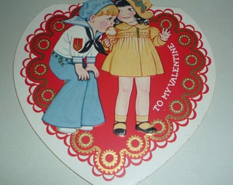 Cute Sailor Boy and His Girl Diecut Fold Open Vintage Valentine