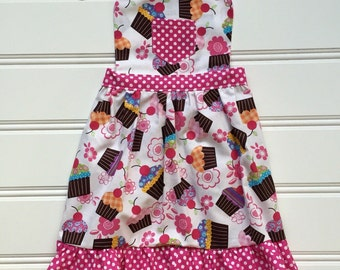 Apron for Kids, Girl Cupcake Apron, Childs Apron, Cooking Apron, Kids Apron, Kitchen Apron, Girl Apron, Toddler Apron, Baking Apron