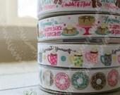 Donut Ribbon, US Designer Ribbon, Glitter Ribbon, Pancake Ribbon, Espresso Ribbon, Coffee Ribbon, bow supplies,  Grosgrain ribbon, pink aqua