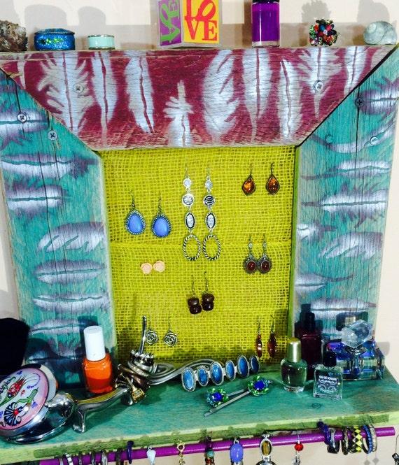 Makeup organizer /jewelry wall storage /floating shelves/ reclaimed wood shelf earring holder 4 scarf hangers 9 teal necklace hooks