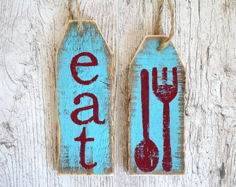 eat sign distressed wood sign fork and spoon sign cooking sign cooking party favors rustic kitchen - Distressed Cafe Decor