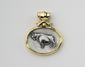 Taurus Pendant, Taurus Zodiac jewelry, Taurus medallinecklace, Silver coin bezel 14k gold Personalized pendant Bull Pendant, Berman