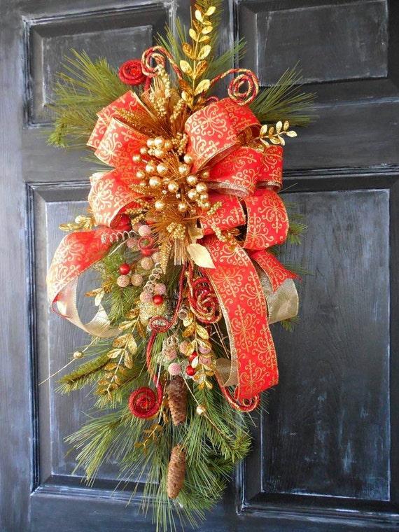 Items Similar To Christmas Door Swag Elegant Holiday