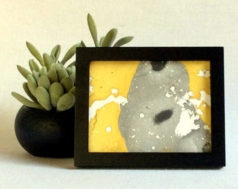 Mini abstract painting | fluid painting | framed abstract art | gold black canvas | black framed art | desktop art | mini canvas painting