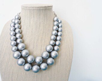 Matte Silver Bead Statement Necklace
