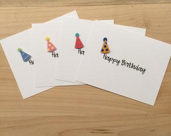 Birthday Cards, Birthday Card Set, Assorted Party Hat Birthday Card Set, Happy Birthday Card Set, Happy Birthday Cards, Party Hat | Set of 8