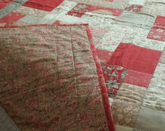 Lap Quilt in Red and Beige