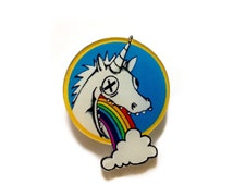 Rainbow Unicorn, Unicorn Puking Rainbow, Colorful, Acrylic Jewelry, Kawaii, Fun, Cool, Cute, Acrylic, Plastic, Backpack Pin, Brooch