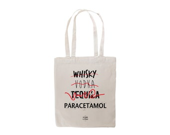 Tote bag canvas Whisky Vodka Tequila Paracetamol Gifts for women Gift for men bag shopping by decartonetdetoiles