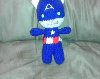 Crocheted Captain AmeriCat