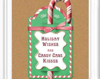 Instant Download Candy Cane Kisses printable tag, Candy Cane gift, Christmas Tag in 2 sizes for small or larger candy canes