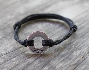 Personalized Washer Bracelet, Couples Bracelet, Initial Bracelet, Anniversary Gift, Couple Gift Ideas, Boyfriend Gift, Husband Gift, Wife