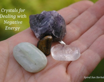 Banish Negative Energy Crystal Set, 4 Powerful protection gems, hex curse breaking, positive energy, nasty people energy dealing with others