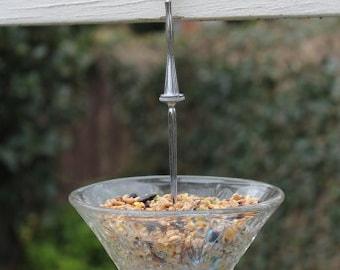 Glass bird feeder, bird lover's gift, garden ornament, vintage bird feeder, gift for her, garden decoration, gardeners gift,