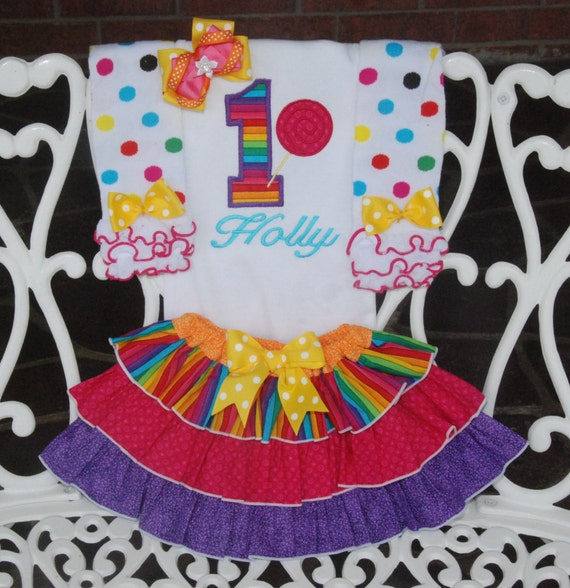 Rainbow Birthday Outfit Rainbow First Birthday Outfit/Baby