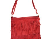 Red Coral Leather Fringe Purse,Suede Crossbody Shoulder Handbag,Leather Suede Bag,Handbag Fringed ,Suede Leather Bags with Fringes.