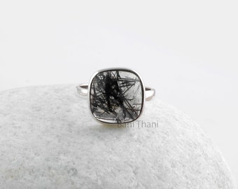 Black Rutilated Quartz 10 mm Cushion Ring, 925 Sterling Silver Bezel Ring Jewelry, Gift #SS5014