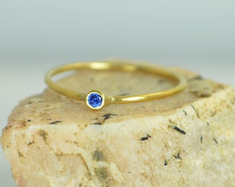 Tiny Sapphire Ring, Sapphire Stacking Ring, Solid 14k Gold Sapphire Ring, Sapphire Mothers Ring, September Birthstone, Gold Sapphire Ring