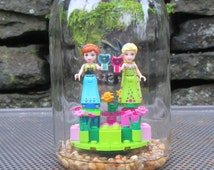 LEGO Disney Princess Sisters Anna and Elsa -Happily Ever After -LEGO Minifigure Display -Sisterly Love - Colorful Display of Frozen Sisters